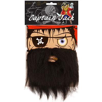 BLACK PIRATE BEARD CAPTAIN FANCY DRESS COSTUME ACCESSORY SHEPHERD FACIAL - Captain Black Pirate Kostüm