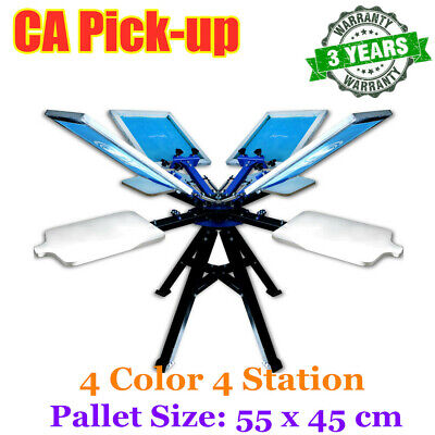Ca Pick 4 Color 4 Station Double Wheel Silk Screen Printing Press Tshirt Printer