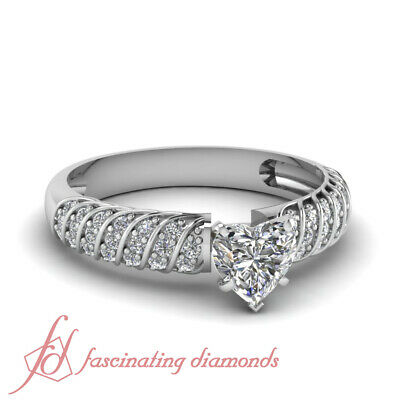 Engagement Ring Pave Set 1 Carat Heart Shaped Untreated Diamond GIA Certified
