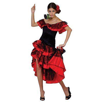 Spanisch Senorita Rumba Tänzer Erwachsene Damen Kostüm Latino (Spanisch Rumba Kostüm)