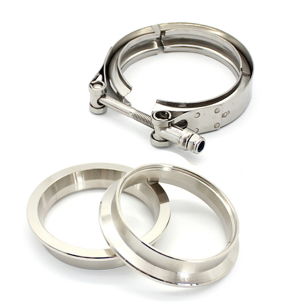"""4/"""" 100mm Stainless Steel V Band Clamp /& Flange for Turbo Exhaust 4 inch V-band"""