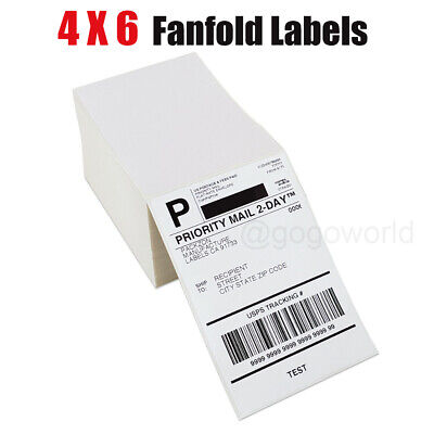 500 Fanfold 4 X 6 Direct Thermal Labels Shipping Labels For Zebra Rollo Ups