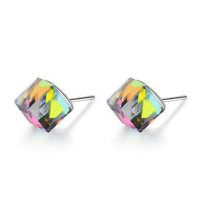 925 Sterling Silver Aurora Multi-Color Austrian Crystal Cube Ear Stud Earrings -
