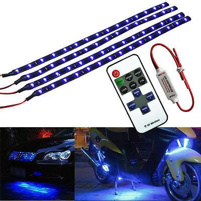 Wireless Remote Control 30CM Motorcycle Blue LED Light Strip Kit For Kawasaki