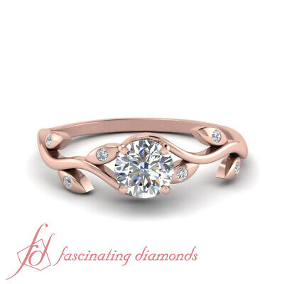 Rose Gold Branch Design Engagement Ring With 1/2 Carat Round Cut Diamond Center