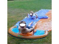 Dual Splash Water Slide DOUBLE POOL 16FT Garden Outdoor Game, 2x Air boogies