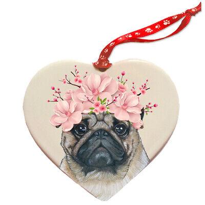 Pug Dog Porcelain Floral Heart Shaped Ornament Décor Pet Gift](Pug Decor)