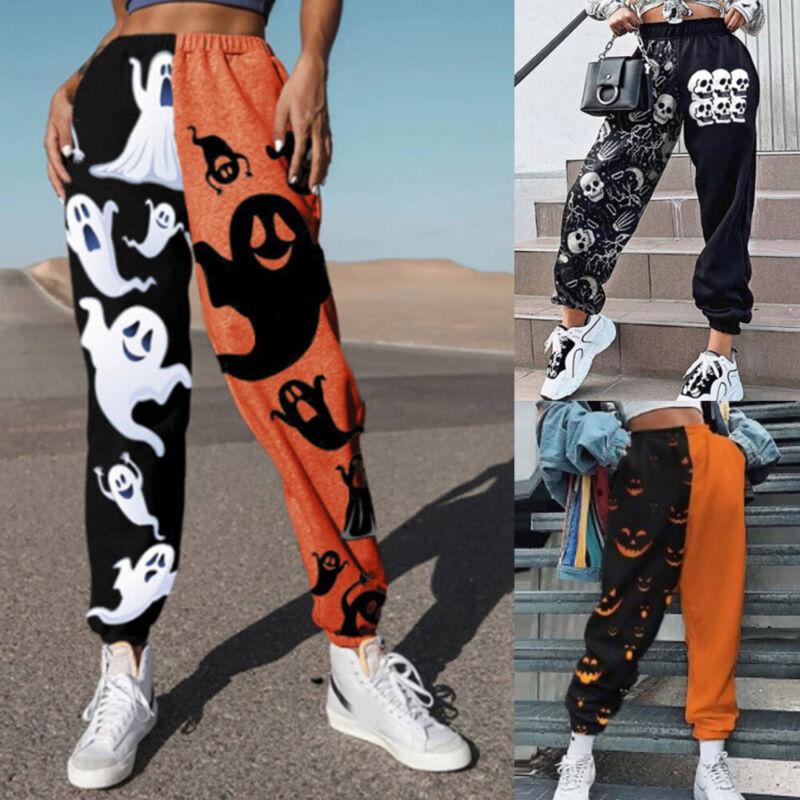 ❤️  Womens Halloween Printed Joggers Sweatpants Ladies Jogging Gym Pants Bottoms