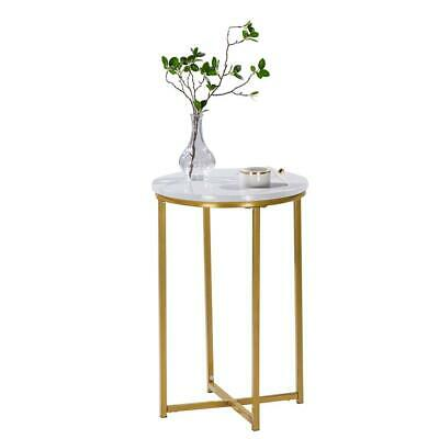 Modern White Marble Side Table with Gold Frame 1 Tier Lounge Sofa Beside Table
