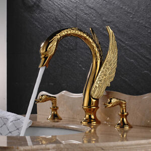 Gold Brass 3pcs Bathroom Basin Faucet Swan Spout Sink Mixer Tap Dual Handles Set