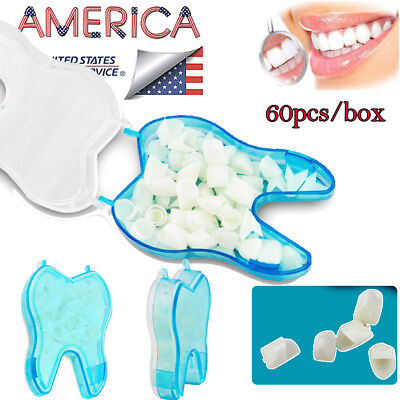 60pcsbox Anterior Teeth Caps Front Tooth Temporary Crown Dental Treatment Fda