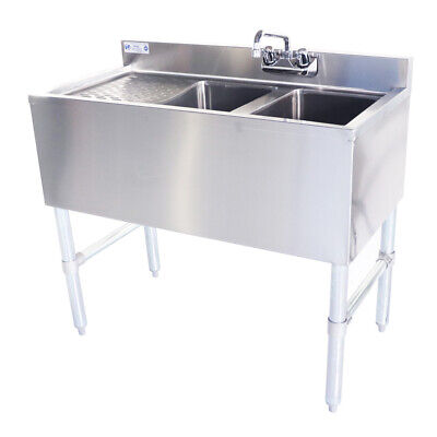 18-ga Ss304 2 Bowl Under Bar Sink With Faucet And One Drainboards