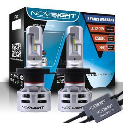 NOVSIGHT H4/HB2/9003 60W 10000LM LED Headlight Bulbs 6500K Fog Lamp Hi/Low Beam