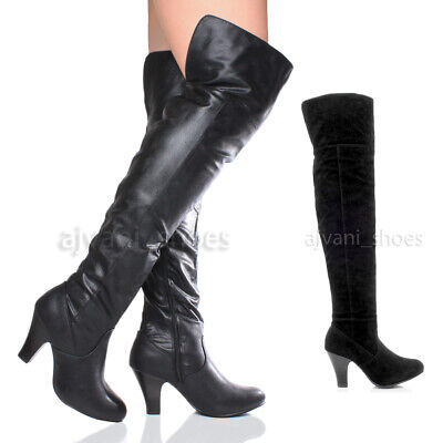 Lady Pirate Boots (WOMENS LADIES MID HIGH BLOCK HEEL OVER KNEE FOLD OVER RIDING PIRATE BOOTS)