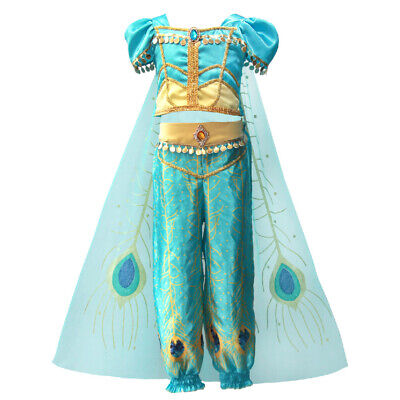 Kid Halloween (Kids Girls Aladdin Costume Princess Jasmine Cosplay Outfit Halloween Fancy)