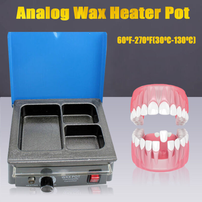 Dental Lab Electric Wax Waxer 3-Well Analog Heater  Melting Dipping Pot Machine