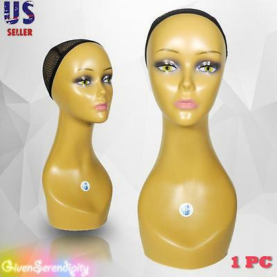 Realistic Plastic Female Mannequin Head Lifesize Display Wig Hat 18 C3
