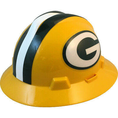 "MSA V-Gard FULL BRIM GREEN BAY ""PACKERS"" NFL Hard Hat Type 3 RATCHET Suspension"