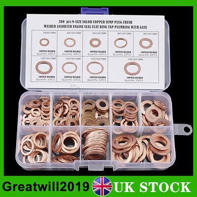 200PCS M5-M14 Crush Copper Washer Seal Flat Ring Gasket Fuel Hydraulic Fittings