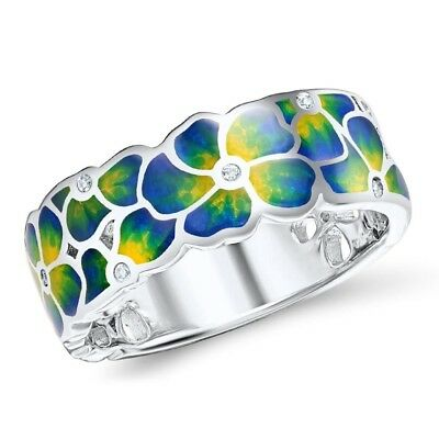 Yellow Transparent Ring - Woman Colorful Transparency Enamel Flower Ring Yellow Cubic Zirconia Jewelry