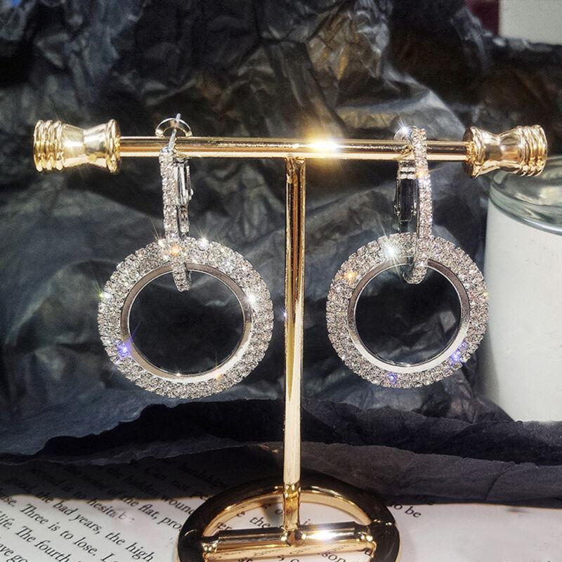 Fashion Luxury Round Earrings Women Crystal Geometric Hoop Earrings Jewelry Gift