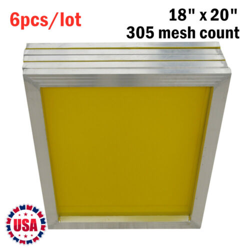 "6pcs -18"" x 20"" Aluminum Screen Printing Screens With 305 Yellow Mesh Count"