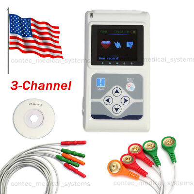 New 24hrs Recorder 3 Channel 3-lead Ecg Holter Monitor Software Analyzer Systems