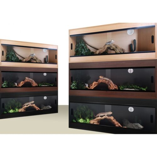 "Terapod Slim Vivarium Reptile Beech Oak Walnut Black 24"" 36"" 48"" 2ft 3ft 4ft"