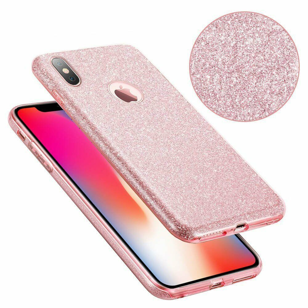 Pink Glitter Bling Luxury Slim Fit Soft TPU Protective Case Cover For iPhone