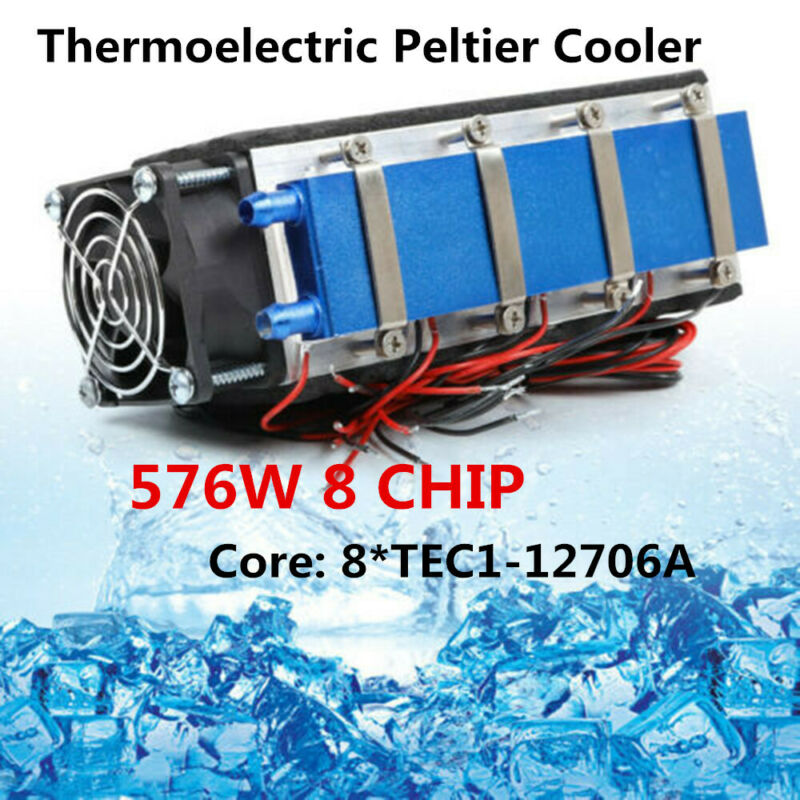 12V 576W 8 Chip TEC1-12706 Thermoelectric Peltier Cooler Air Cooling Device DIY