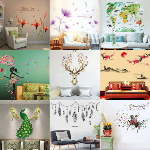 Home Decoration - Leaves Flowers Girl Decor DIY Removable Wall Sticker Bedroom Backdrop Art Decal