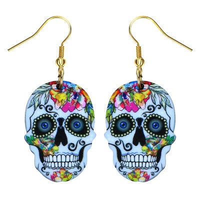 Sugar Skull Female (Day of the Dead Sugar Skull Fashionable Earrings - Acrylic - Fish Hook -6)