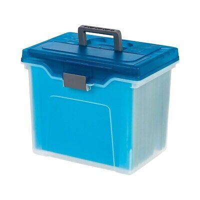 Staples Portable File Box Letter Size Clear Wblue Lid 110990 757451