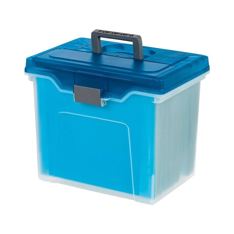 Staples Portable File Box Letter Size Clear w/Blue Lid (110990) 757451