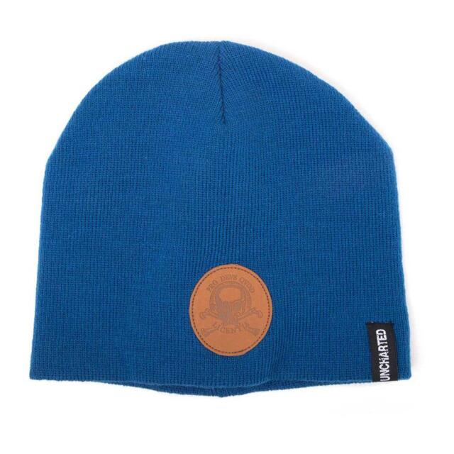UNCHARTED 4 Unisex Pro Devs Qvod Licentia Patch Cuffless Beanie, One Size, Blue