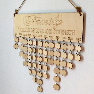 Wood Anniversary Birthday Reminder Board Sign Family Friend Hook DIY Calendar RK (Birthday Board)