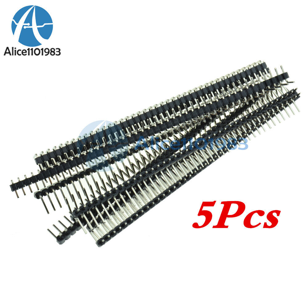 5PCS  2.54mm 2 x 40 Pin Male Double Row Right Angle Pin Header Strip
