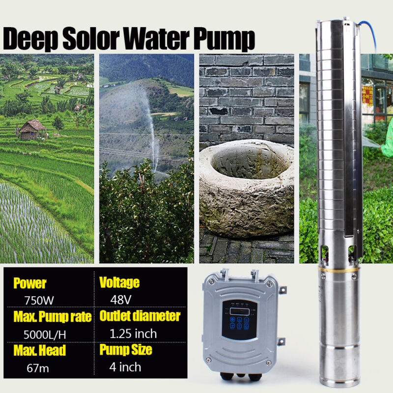 """4"""" DC Solar Water Pump Submersible MPPT Controller Kit Stainless Steel 48V 750W"""