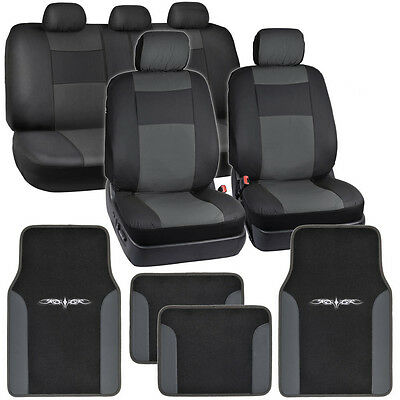Black & Charcoal Gray PU Leather Car Seat Covers w/ Vinyl Trim Floor Mats