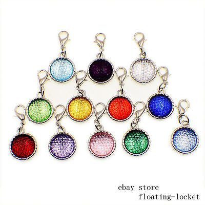 12pcs Birthstone Hang Charms Pendants with lobster clasp Free Shipping LH486