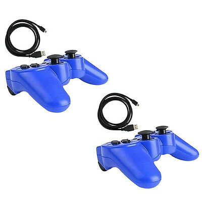 2x Blue Wireless Bluetooth Game Controller Pad For Sony PS3