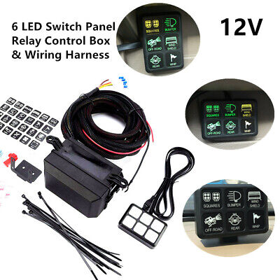 Car Truck Yacht Rv 12v 6 Gang Led Switch Panel Relay Control Box Wiring Harness
