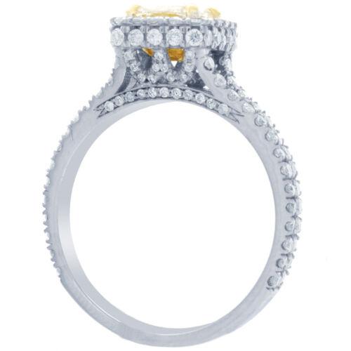 2 Carat GIA Certified Fancy Yellow Cushion Diamond Engagement halo Ring Platinum 2