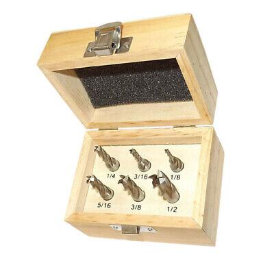 "6 PC HSS Flute End Mill Set 1/8""-1/2"" x 3/8"" High Speed Steel Milling Shank"