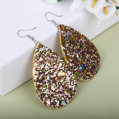 Women Leather Sequins Drop Earrings Leaf Shiny Hook Dangle Punk Jewelry Gifts