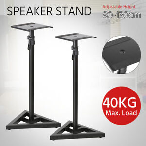 2pcs Monitor Speaker Stands Adjustable DJ Studio Monitor Stands Black Steel UK