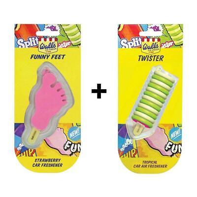 Walls Ice Cream Funny Feet Strawberry & Twister Tropical Car Air Fresheners