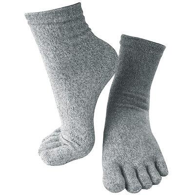 5 Pairs Lot Mens Gray ATB-UV+ fibers Performance Quarter Ankle Toe Socks