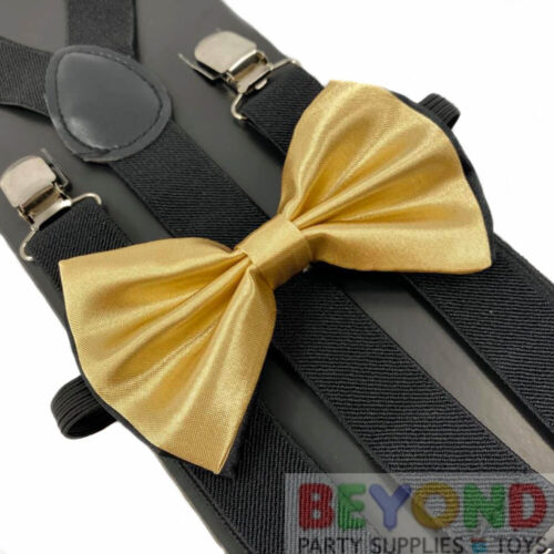 Champagne Gold Black Suspender And Bow Tie Set Tuxedo Wedding Formal Accessory