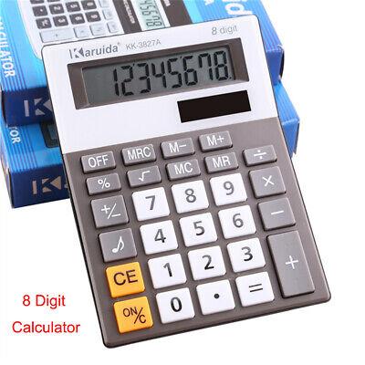 8 Digit Office School Calculator Battery Home Desk Large Button Dual Solar Power